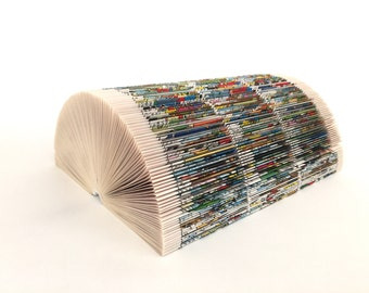Note holder, comic, book arts, book fold, Upcycling, photo holder, business card holder