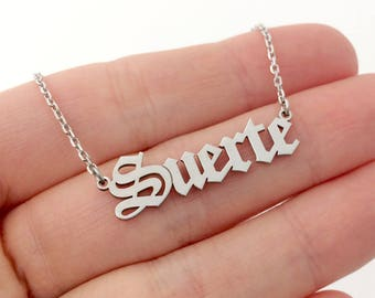 Custom Old English Name Necklace, Silver Name Necklace, Personalized Name Necklace, Nameplate Necklace, Birthday Gift, Valentines Day Gift