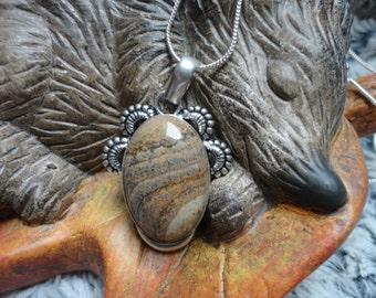 Jasper landscape pendant, 925 Silver