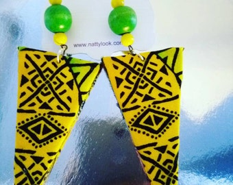 Lime Yellow African Print Fabric Earrings