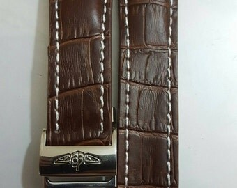 24mm brown breitling genuine leather strap with stainless steel deployment clasp fits to navitimer breitling watches.