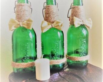 Decor Bottles / Decorative Bottles / Vases / Mantle Decorations/ Holiday Bottles/ Decor Vases/ Recycled Decor Bottles / Bottle Centerpice