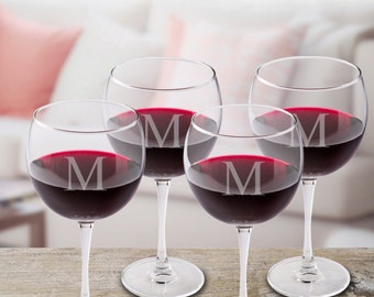Personalized Red Wine Glasses, Personalized Wine Glass Set,  Monogrammed Wine Glasses , Red Wine Glasses