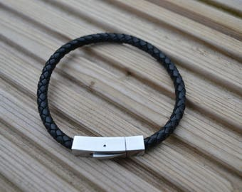 5mm braided leather bracelet with square clasp