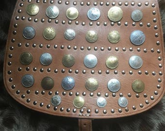 Handmade Moroccan leather coin satchel