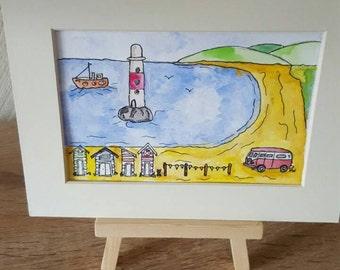 British seaside campervans and beach huts orginal watercolour painting.