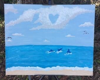 Love cloud painting, beach decor, love painting, beach scene painting, heart clouds painting, heart painting, love clouds, love art canvas