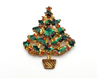 Christmas Tree Brooch Gold tone metal Vintage from the 90s Enamel Finish Gift for her, daughter, friend Red and Green Spruce Fir Pine