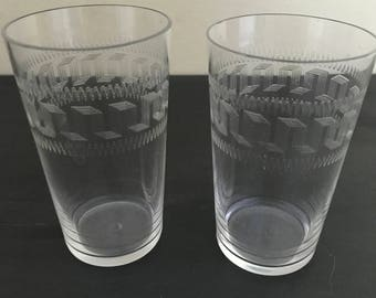 Couple Of Beautifully Etched Glasses