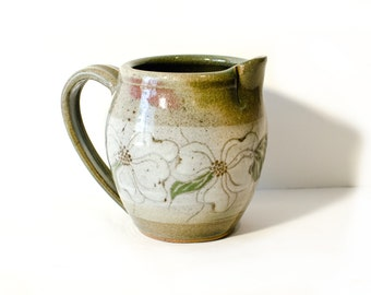 Signed Stoneware Pottery Pitcher Vase by BigMuddyVintageShop