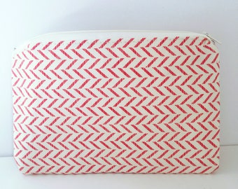 Pink Chevron Pouch/ Cosmetics Bag