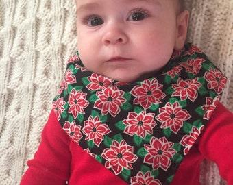 Pointsetta Bib, Christmas Bib, Bib bandana, bibdana, baby bib, drool bib, Holiday Bib