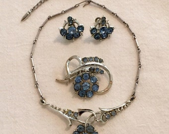 Vintage Coro Blue Rhinestone Jewelry Set