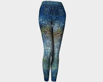 Feshong Leggings, printed leggings, art leggings, workout leggings, abstract leggings, modern print leggings, blue leggings, Women's legging