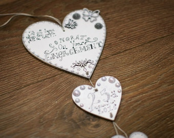 Personalised Wooden Heart Wedding Anniversary Engagement Plaque Valentines Gift