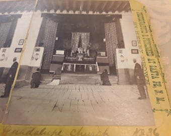 Antique Rare 1870's Stereoview of the Interior of Guadalupe Church in Santa Fe, New Mexico by Henry Brown of Santa Fe.