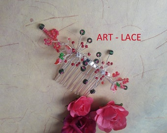Bridal Red flower hair comb Bridal hair accessories for women resin floral Chinese Bridal hair piece Red Green Christmas Barrette Japanese