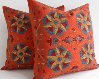 hand embroidered uzbek suzani pillow coral pillows solid coral decorative pillow coral cushion