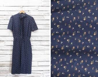Vintage floral maxi dress | Retro flowers dress | Beach summer dress | Women Small