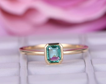 Emerald engagement ring in 14k or 18k yellow gold,emerald shape cut,fine handmade,natural emerald ring,emerald band,bride ring