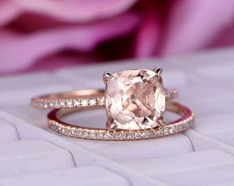 2pcs 8mm Morganite wedding ring set/Diamond Engagement ring 14k rose gold/Cushion cut pink morganite ring/Thin band/Half Eternity Ring/Prong