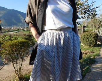 Pinstripe cotton -20% DISCOUNT asymmetrical skirt
