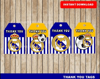 Real Madrid tags; printable Real Madrid Thank you Tags, Soccer party tags instant download