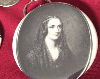 Keychain Bottle Opener with image of Mary Shelley (Frankenstein)
