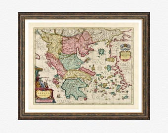 Map of Greece 1665, map prints, map poster, Greece poster, vintage map prints, Greek islands map, map photo, city map poster prints