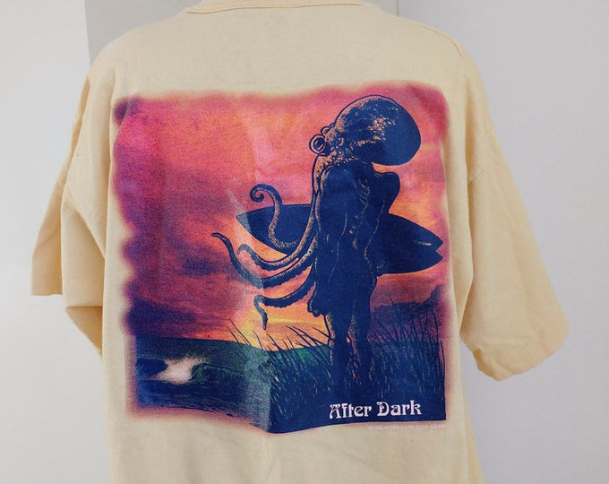 RARE 1994 After Dark Cthulhu surfer T-shirt, pale yellow mens tshirt size XL, collectible clothing