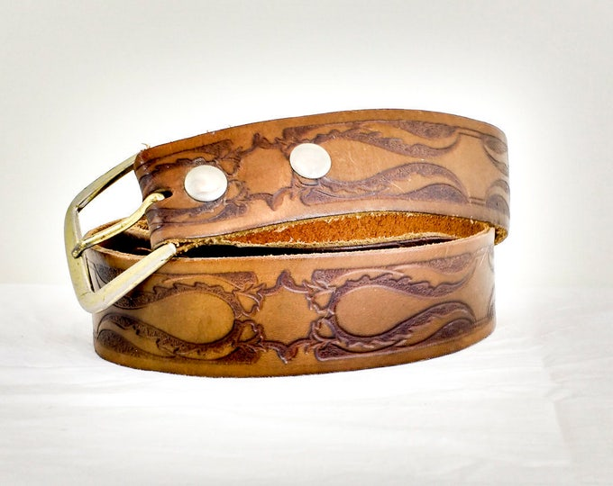 Tooled leather belt, genuine leather ladies or mens belt, brown leather belt, vintage belt, 40 inches long / 1 - 5/8 inches wide