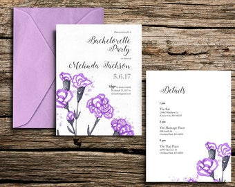 Printable Carnation Bachelorette Party Invitation 5x7