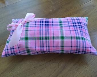Plaid pillow; handmade for ten dollars.
