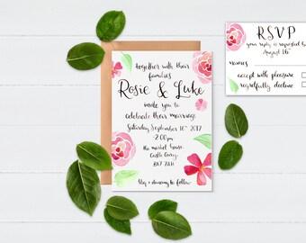 Floral Wedding Invitations || Handwritten Wedding Invites || Printable Wedding Invitation || Invitation Suite || Custom Wedding Invitation