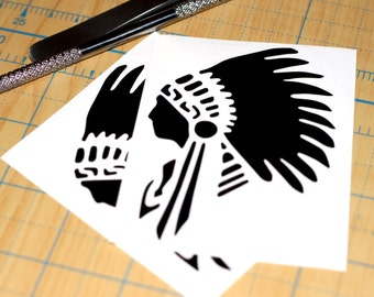 Native American in Headdress Sticker | Indian Decal