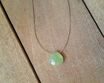 Green Chalcedony Necklace - Simple Necklace, Dainty Necklace, Faceted Teardrop, Floating Gemstone Necklace, Barely There, Tiny Stone