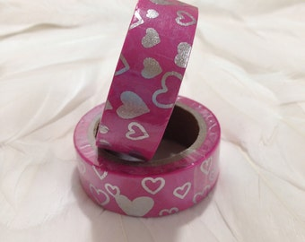 Gorgeous Pink Washi Tape with Silver Foil Hearts - 6 metre Roll