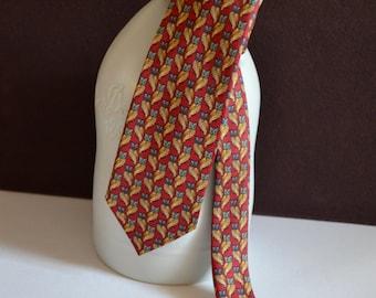 J. Press - The Burlington Knot - Vintage Necktie - 100% Silk - Red w/Blue Faced Beige Owls