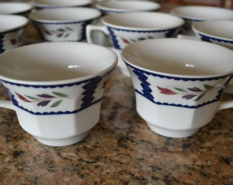 Vintage Set of 10 Adams Teacup/Coffee - Lancaster Pattern - Real English Ironstone - Made in England
