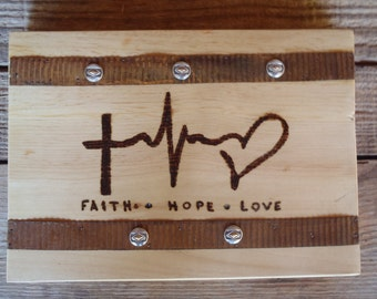Faith Hope & Love Rustic Tin