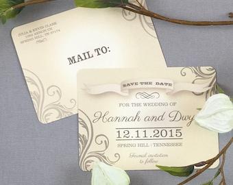 Romantic Vintage Wedding Save the Date Postcards - JA1