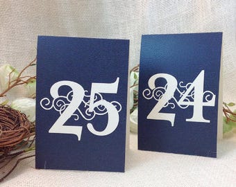 Elegant Flourish Navy and White Tented Table Numbers for Wedding Reception - TE1