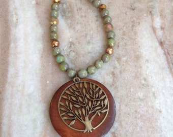 Tree of life pendant in greens and browns