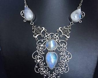 Beautiful rainbow moonstone necklace