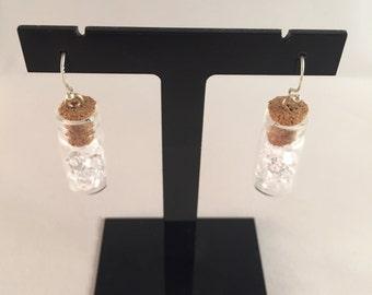 Handmade little gem vial earrings (crystal)