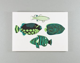 Blank Note Cards   Sea-green & Mint Tropical Fish   Set of 6 cards and envelopes
