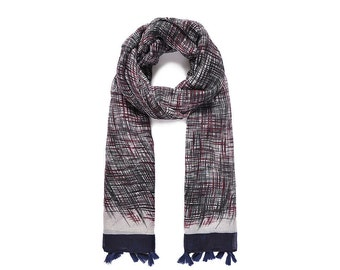Blue & Red Abstract Print Scarf SC2021j