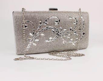 Silver Crystal Scroll Wedding Clutch Bag Bride Bridesmaid BAG36