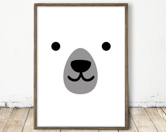 polar bear print, white bear print, white bear art, baby bear print, forest animal, forest nursery, bear print, white nursery art, bear art
