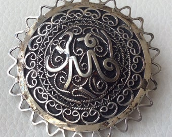 Ornate French Silver Vintage Brooch.